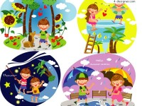 Children s summer Vector 3 vector material