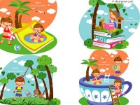 Children s summer vector material 4