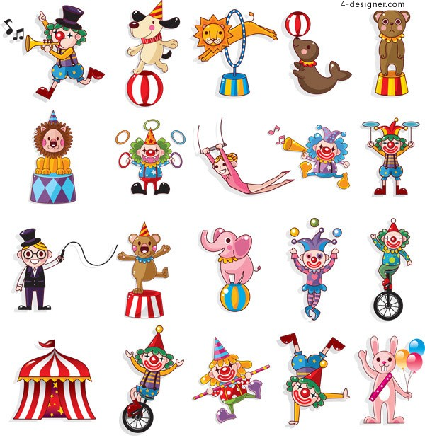 Circus clown character vector material