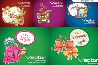 Colorful cartoon background vector material