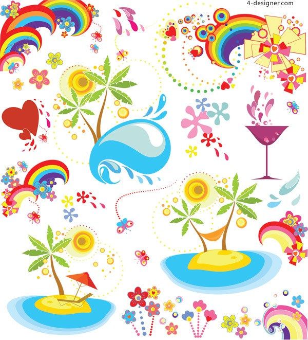 Colorful tropical vector material