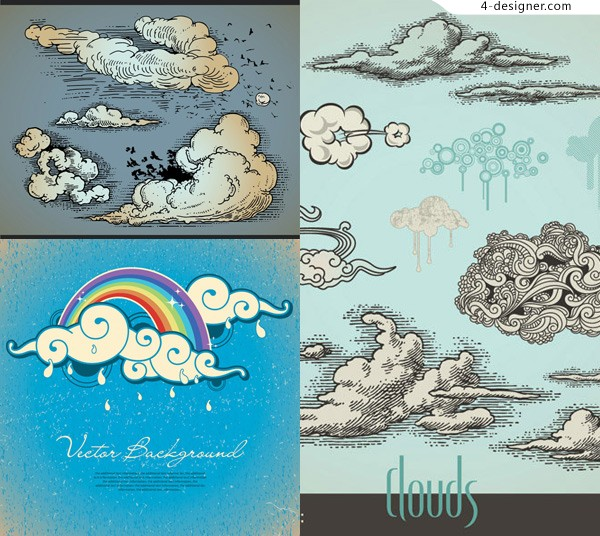 Comic style clouds vector material