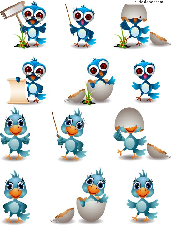 Cute bird image vector material