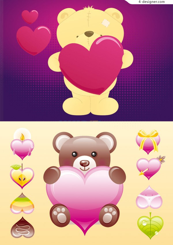 Cute cartoon bear vector material