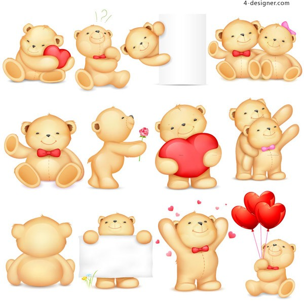 Cute teddy bear vector material