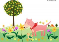 Dog sniffing flower vector material