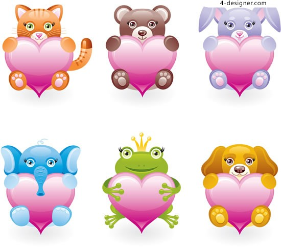 Embrace love animals vector material
