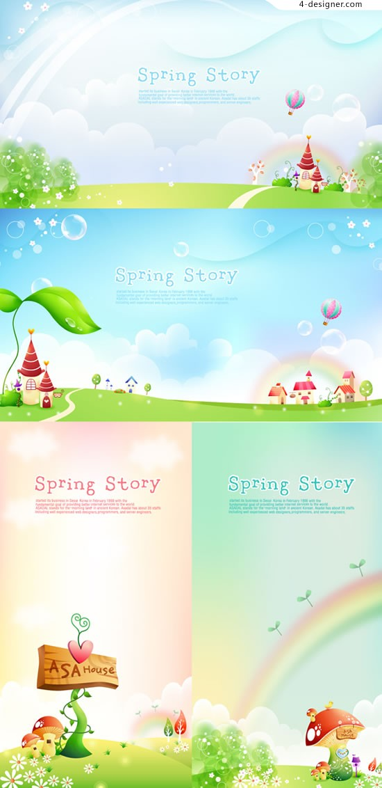 Fairy spring landscape vector material