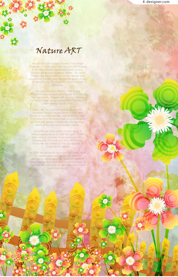 Fantasy fence flowers vector material