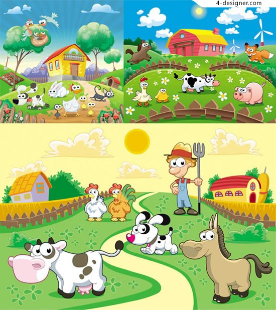 Farm animal cartoon scene vector material