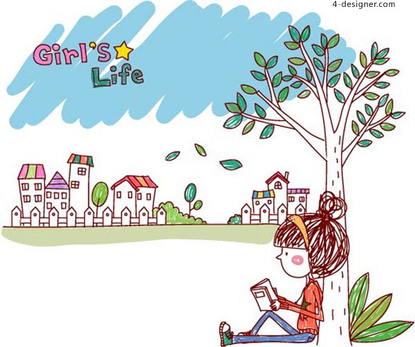 Fashion Girl Reading vector material