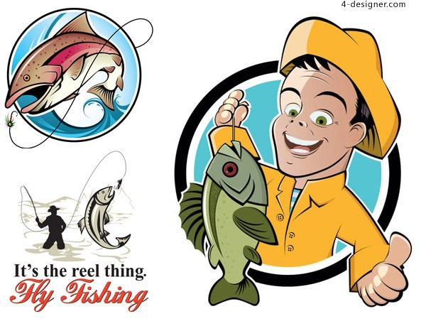 Fishing cartoon vector material