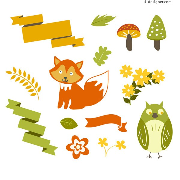 Forest animals element vector material
