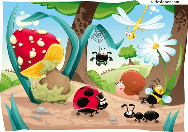 Forest insect illustration vector material
