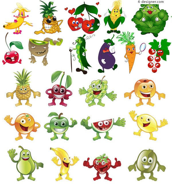 Fruits and vegetables vector Cartoon vector material