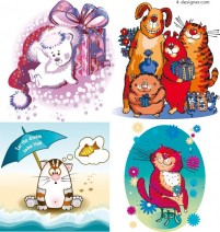 Funny cartoon animals vector material