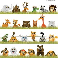 Funny little animals vector material