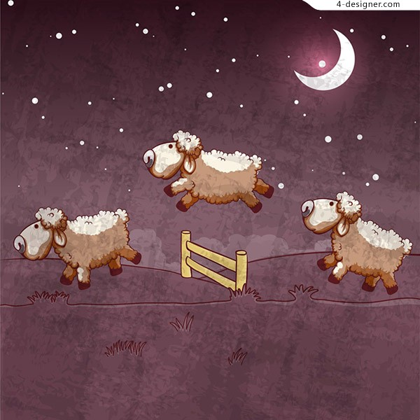 Goats jump the fence vector material