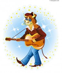 Guitar cartoon cow image vector material