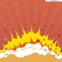 Hand painted cartoon bubble explosion vector material