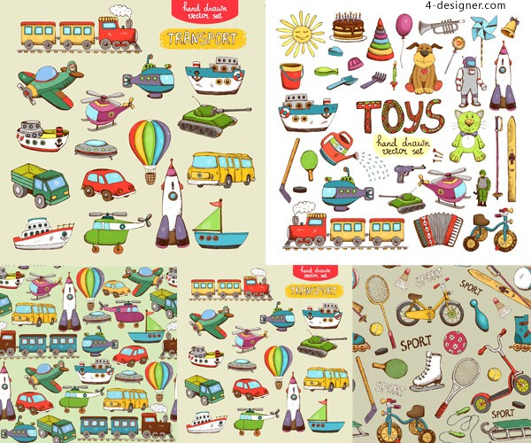 Hand painted children s toys vector material