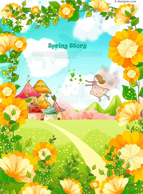 Hand painted fairy tale world vector material