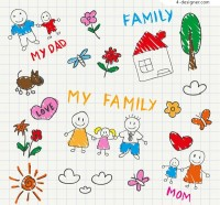 Hand painted illustration Family vector material