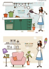Housewife illustration vector material