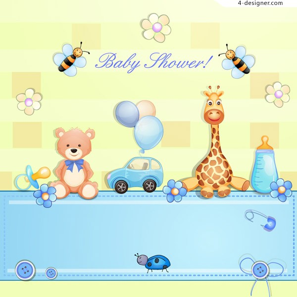 Infant baptism party vector material