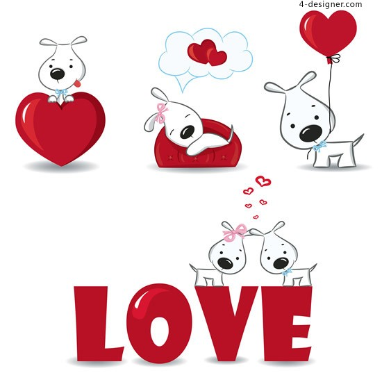 LOVE dogs vector material