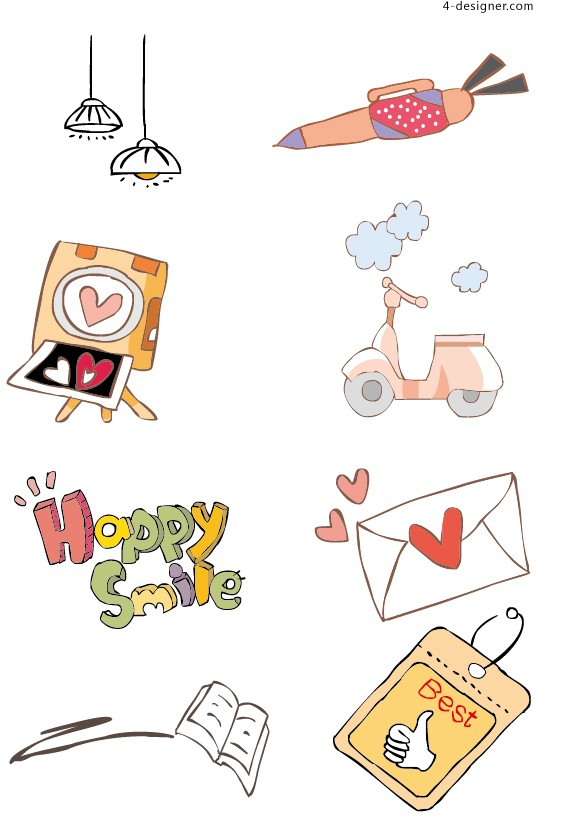 Lovely hand painted illustrations vector material