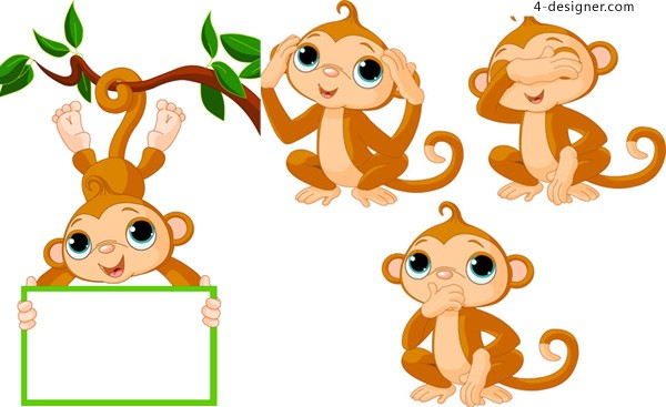 Monkey cartoon vector material