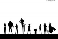 One Piece nine silhouettes vector material