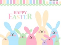 Pastel rabbit family vector material
