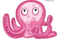 Pink octopus vector material