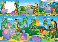 Prairie landscape animal vector material