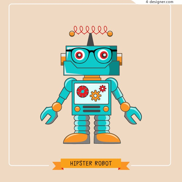Robot color illustration vector material