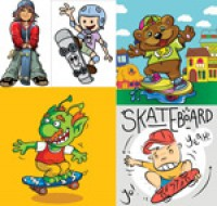 Skateboard figures and animals vector material