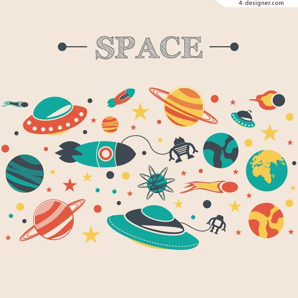 Space Adventures cartoon illustration vector material