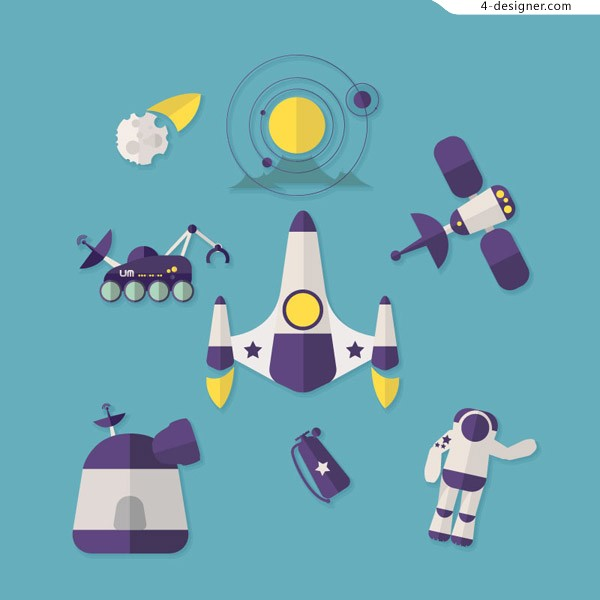 Space exploration icon vector material