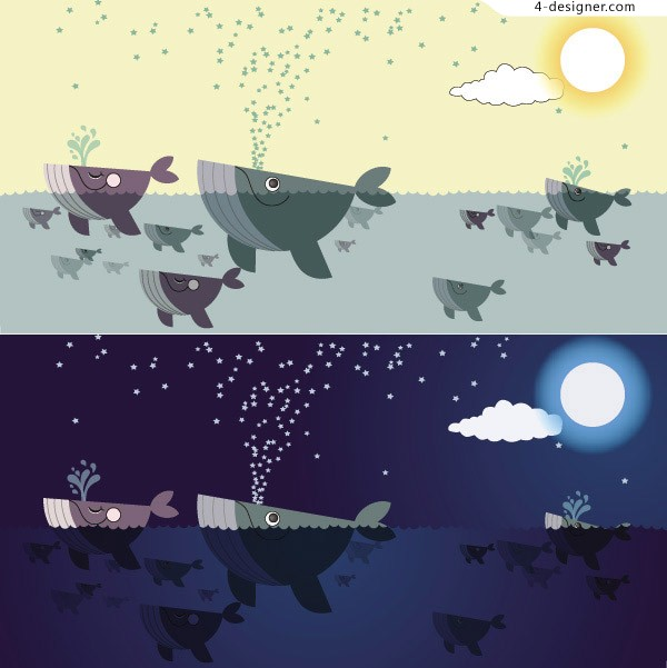 Stick figure whales vector material