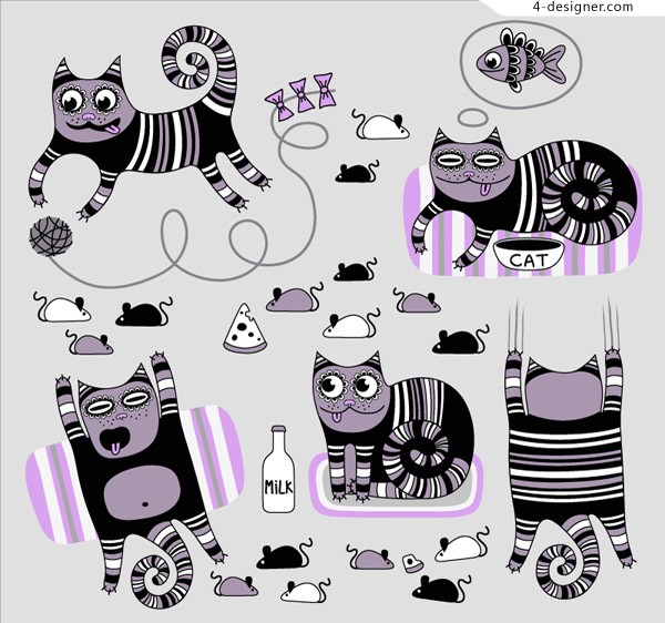 Striped cat cartoon vector material