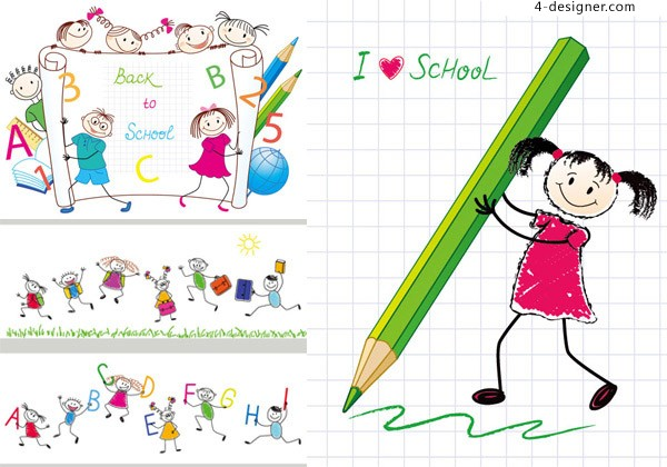 Students painted cartoon vector material
