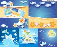 Summer beach background vector material