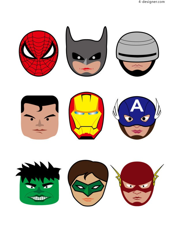 Superhero illustration vector material