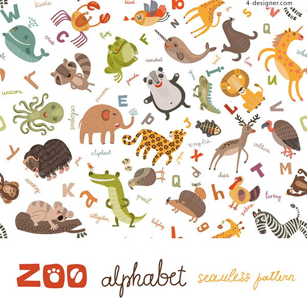 The flat cartoon animals vector material