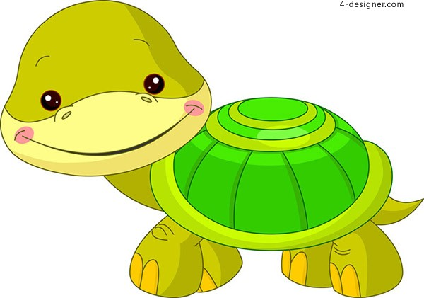 Turtle children s paintings vector material