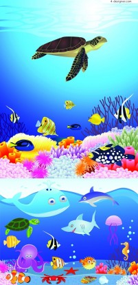 Underwater World scenery vector material