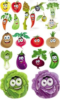 Vegetable cartoon vector material