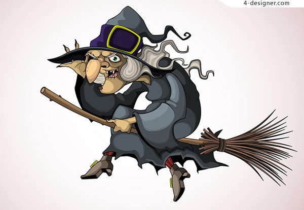 Witch riding a broom vector material